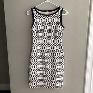 Lilly Pulitzer Ivory Navy Cotton Knit Shift Dress
